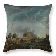 Joseph Vernet   A Sporting Contest On The Tiber At Rome Throw Pillow