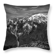 Joshua Tree At Keys View In Black And White Throw Pillow