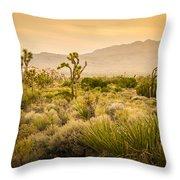 Joshua Tree Golden Throw Pillow