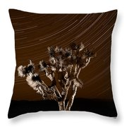 Joshua Tree Night Lights Death Valley Bw Throw Pillow