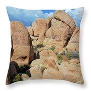 Joshua Tree White Tank Boulders Throw Pillow