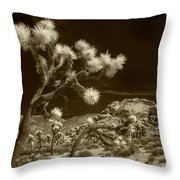 Joshua Trees And Boulders In Infrared Sepia Tone Throw Pillow