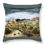 California Desert Landscape - Watercolor Art Throw Pillow