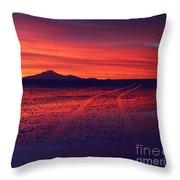 Journey Across The Salar De Uyuni At Sunset Throw Pillow