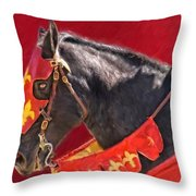 Jouster Red Throw Pillow