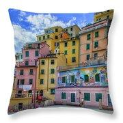Joy In Colorful House In Piazza Di Riomaggiore, Cinque Terre, Italy Throw Pillow