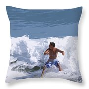 Joy Of Surfing - Two Throw Pillow