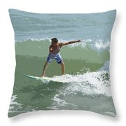 Joy Of Surfing One Throw Pillow