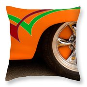 Joy Ride - Street Rod In Orange, Red, And Green Throw Pillow