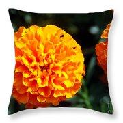 Joyful Orange Floral Lace Throw Pillow