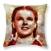 Judy Garland, Vintage Actress By Mb Throw Pillow