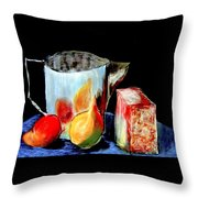 Jug With Fruit Throw Pillow