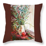 Jug With  Red Apple Throw Pillow