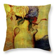 Jug With Yellow And Violet Flowers Throw Pillow