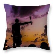 Juggler At Sunset Throw Pillow