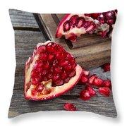 Juicy Ripe Pomegranates On Vintage Wood  Throw Pillow