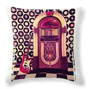 Juke Box Polaroid Transfer Throw Pillow