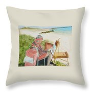 Julia Painting At Boynton Inlet Beach  Throw Pillow