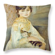 Julie Manet With Cat Throw Pillow by Pierre Auguste Renoir