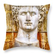 Julius Caesar At Vatican Museums 2 Throw Pillow by Stefano Senise