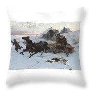 Julius Vesin Bulgarian The Sleigh Ride Throw Pillow