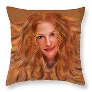 Julorobani - Julia Roberts Portrait Throw Pillow