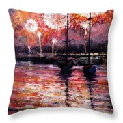 July Fourth Fireworks On The Hudson Throw Pillow