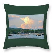 July Sky Over A Maine Harbor Throw Pillow