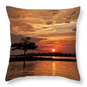 July Summer Sunset At Detroit Point Throw Pillow