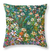 Jumbled Up Wildflowers Throw Pillow