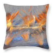 Jumped Over The Freeway - Dancing California Fires Throw Pillow