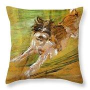 Jumping Dog Schlick 1908 Throw Pillow