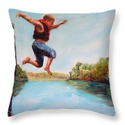 Jumping In The Waccamaw River Throw Pillow