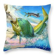 Jumping Mahi Mahi And Flyingfish Throw Pillow