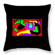 Jumping Over Purple Rock Throw Pillow