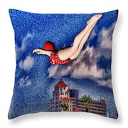 Jumping The Breakers Throw Pillow