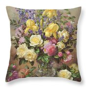 June's Floral Glory Throw Pillow