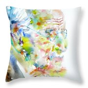 Jung - Watercolor Portrait.4 Throw Pillow