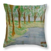 Jungle-brookside Throw Pillow