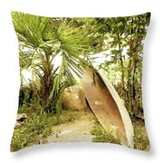 Jungle Canoe Throw Pillow