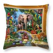 Jungle Coming Throw Pillow