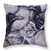 Jungle Crows On Jackfruit Throw Pillow