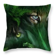Jungle Eyes - Panther And Ocelot  Throw Pillow