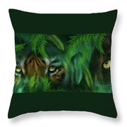 Jungle Eyes - Tiger And Panther Throw Pillow