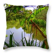 Jungle Garden View Throw Pillow
