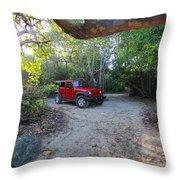 Jungle Jeep Throw Pillow
