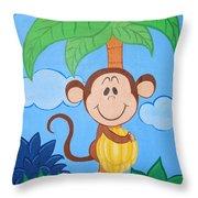 Jungle Monkey Throw Pillow