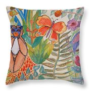 Jungle Scene With Monkey Throw Pillow