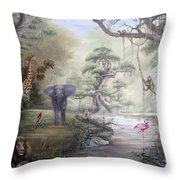 Jungle Treehouse Throw Pillow