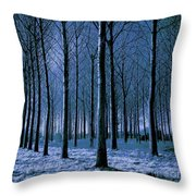 Jungle Trees In Blue  Throw Pillow